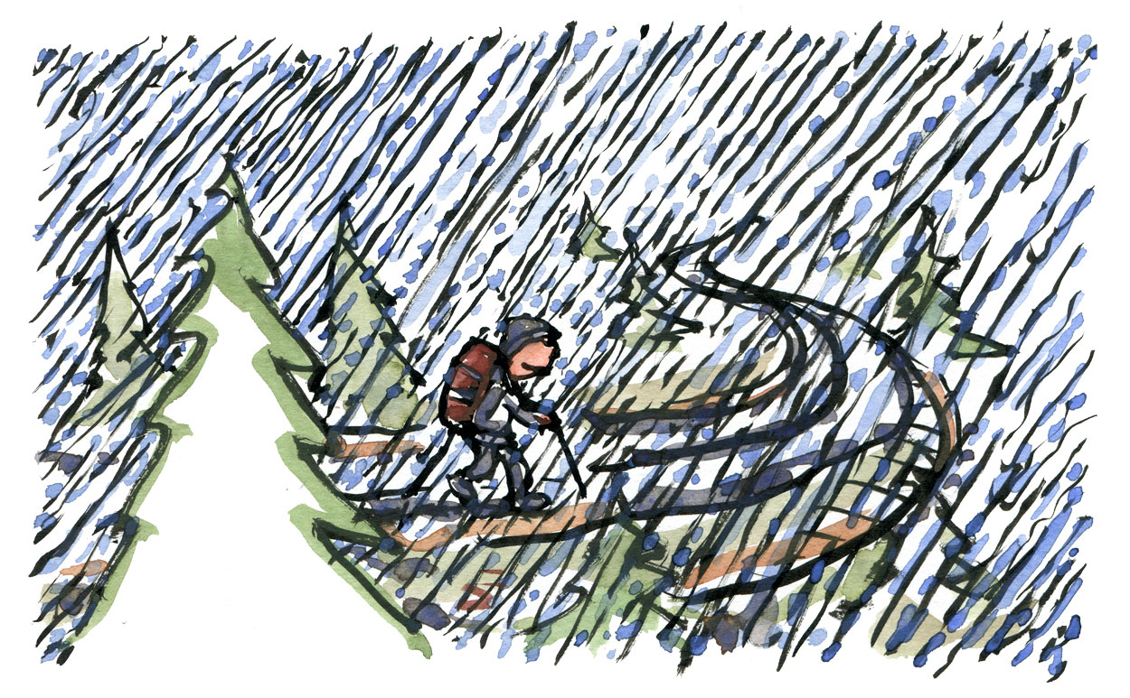 Hiker on a long rainy road. illustration by Frits Ahlefeldt