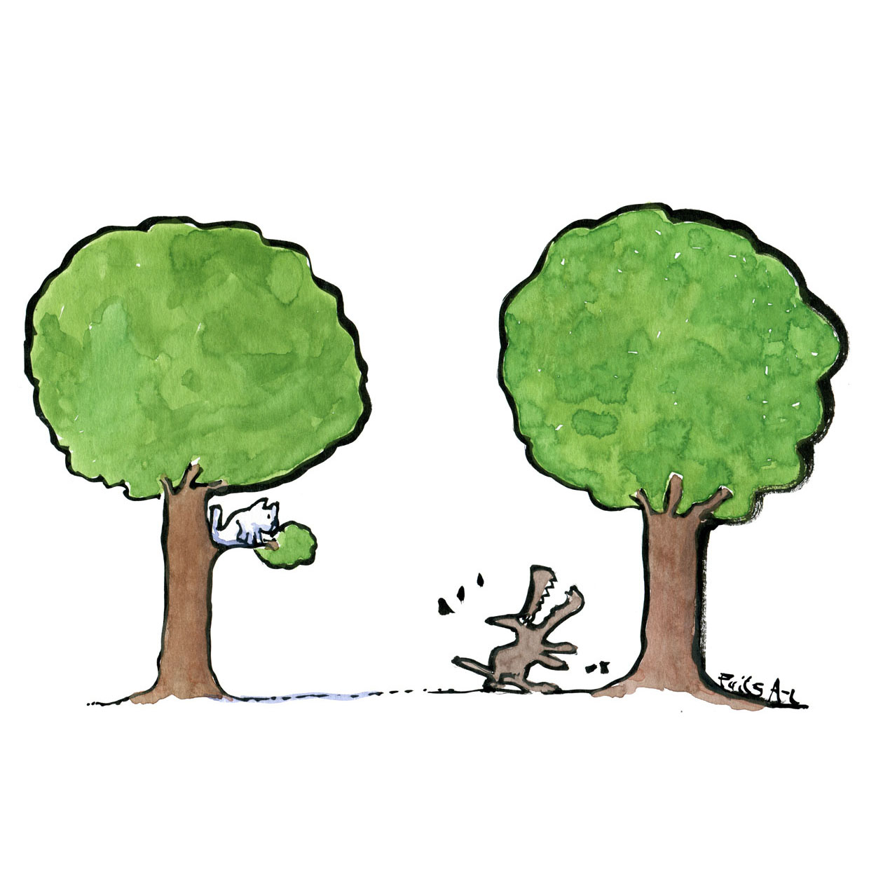Classic illustration cat in one tree and a dog barking up a different tree. Drawing by Frits Ahlefeldt
