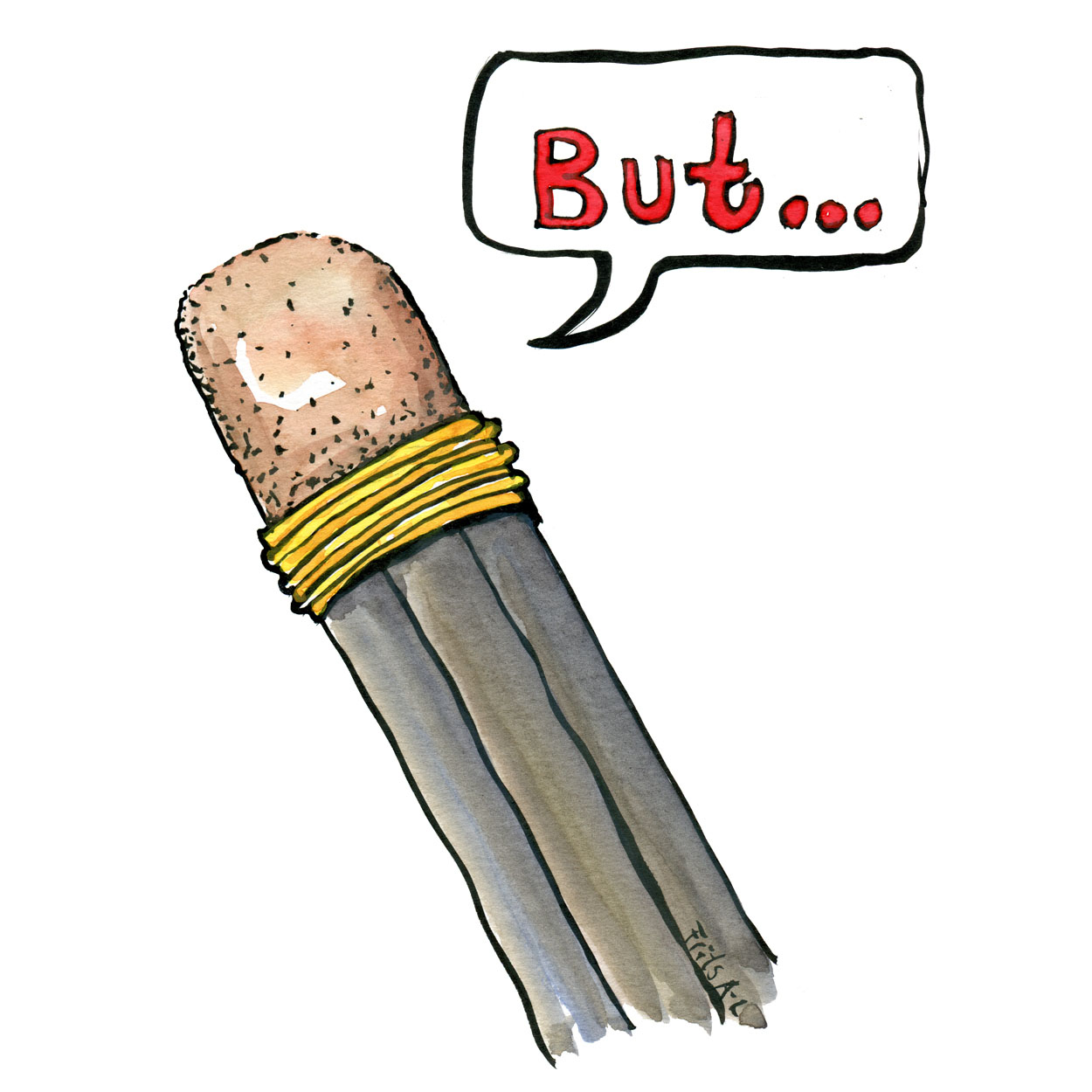 """Pencil with an eraser saying the word """"but"""" illustration by Frits Ahlefeldt. On Museum of Psychology"""