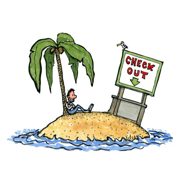 Man sitting under a palm on a island, only company is a bird and a stranded checkout desk
