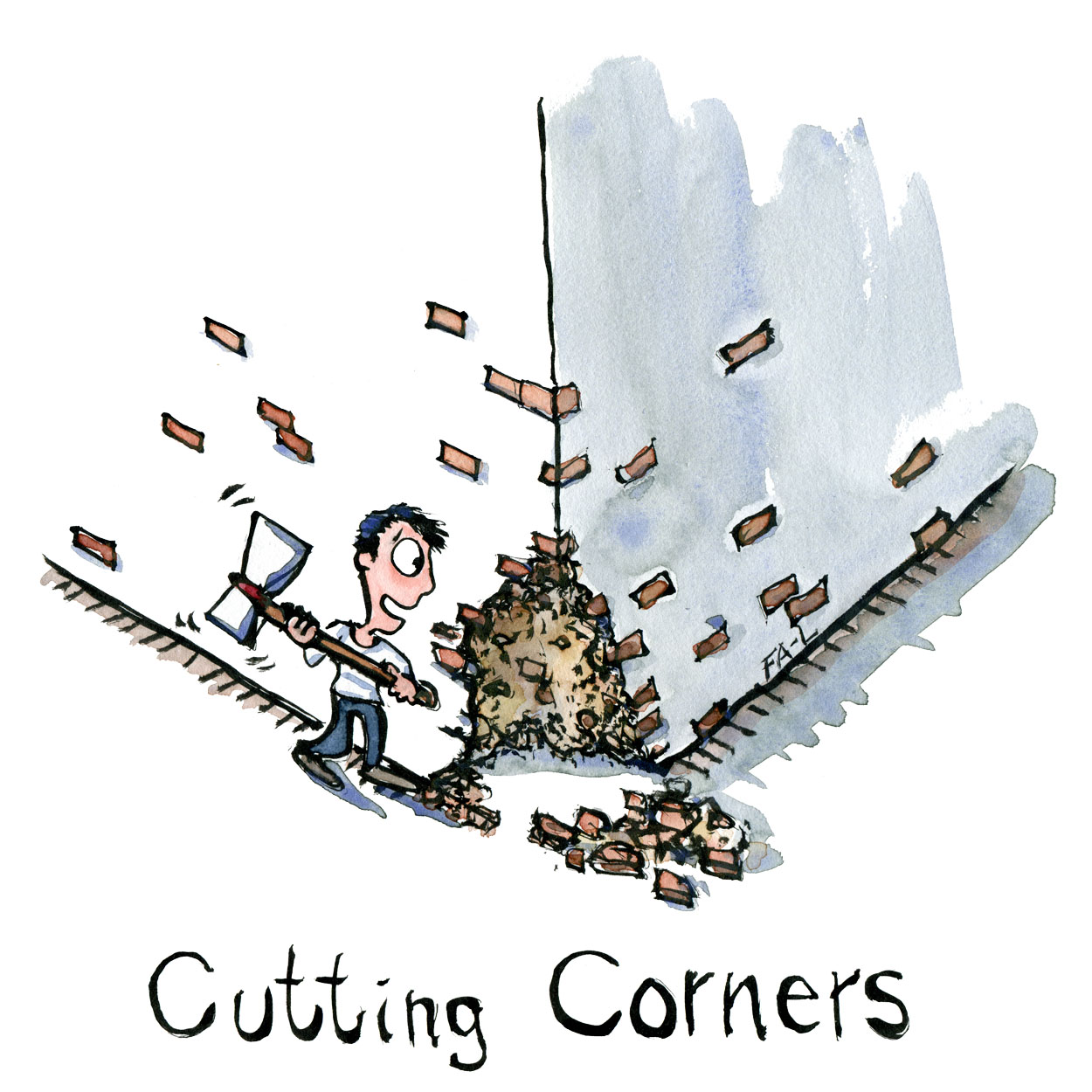 Man standing by the corner of a building cutting the corner with an axe. Illustration by Frits Ahlefeldt