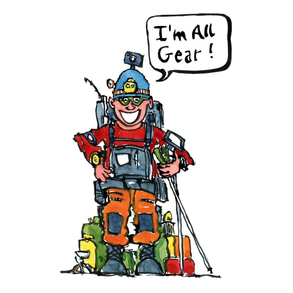 illustration of Hiker type with all kinds of advanced gear and gadgets. saying I'm all gear. drawing by Frits Ahlefeldt