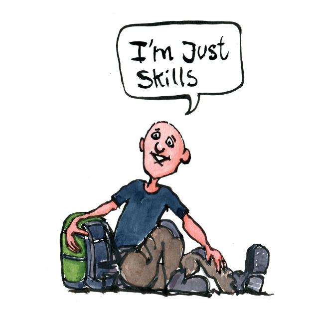 Hiker sitting with backpack, saying I'm just skills. illustration by Frits Ahlefeldt