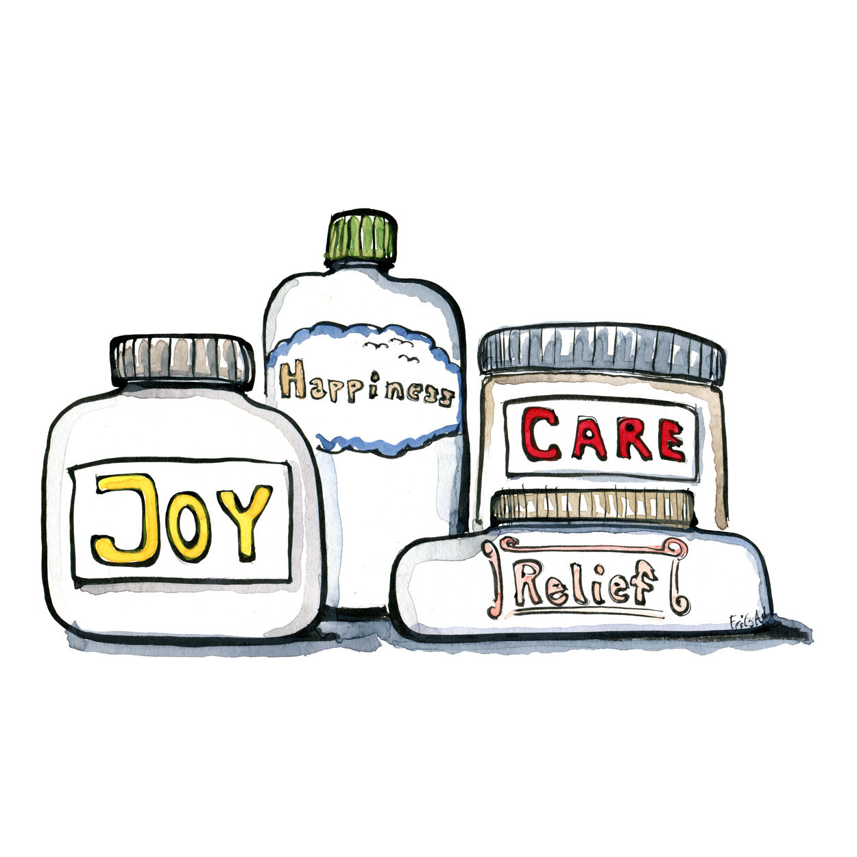 Four containers, with happiness, joy, relief, and care written on them. illustration by Frits Ahlefeldt