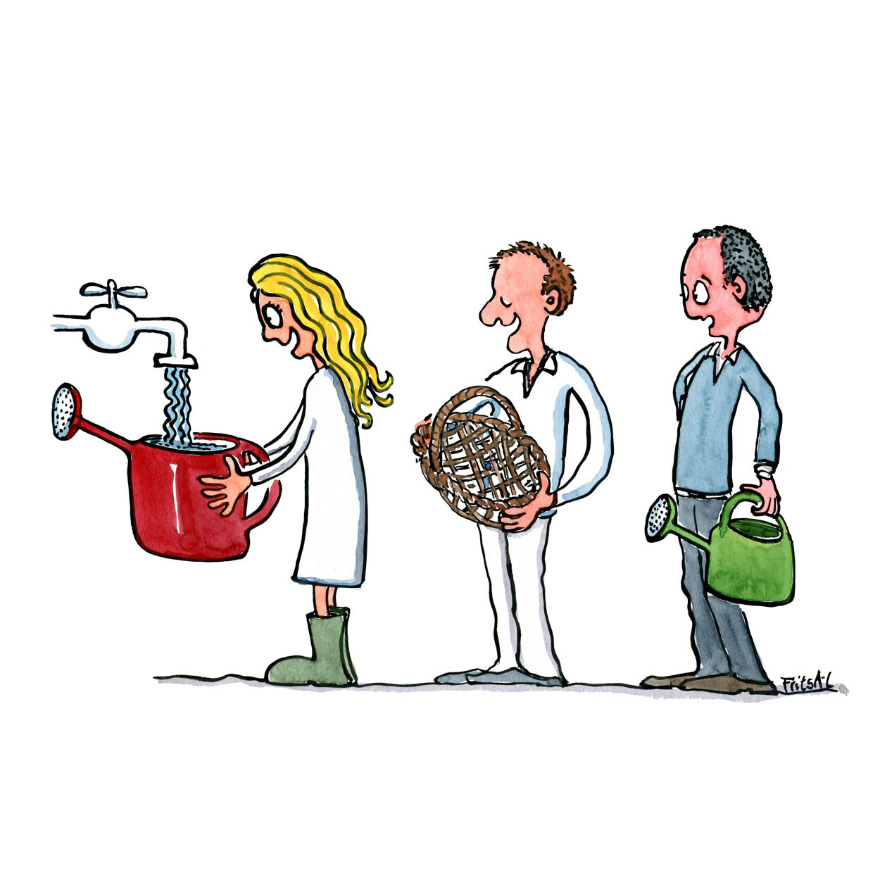 drawing of three persons filling water. two in a watering can, and one in a basket. Drawing by Frits Ahlefeldt