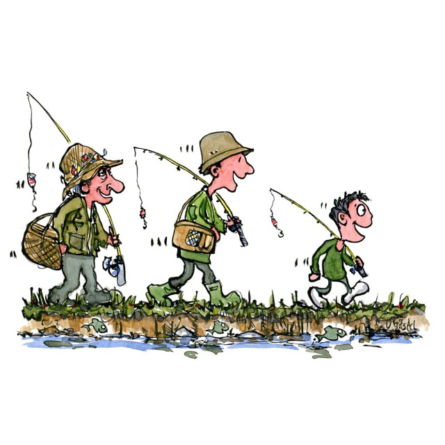 Three fishermen an old, middle age and kid. Walking by a river. illustration by Frits Ahlefeldt