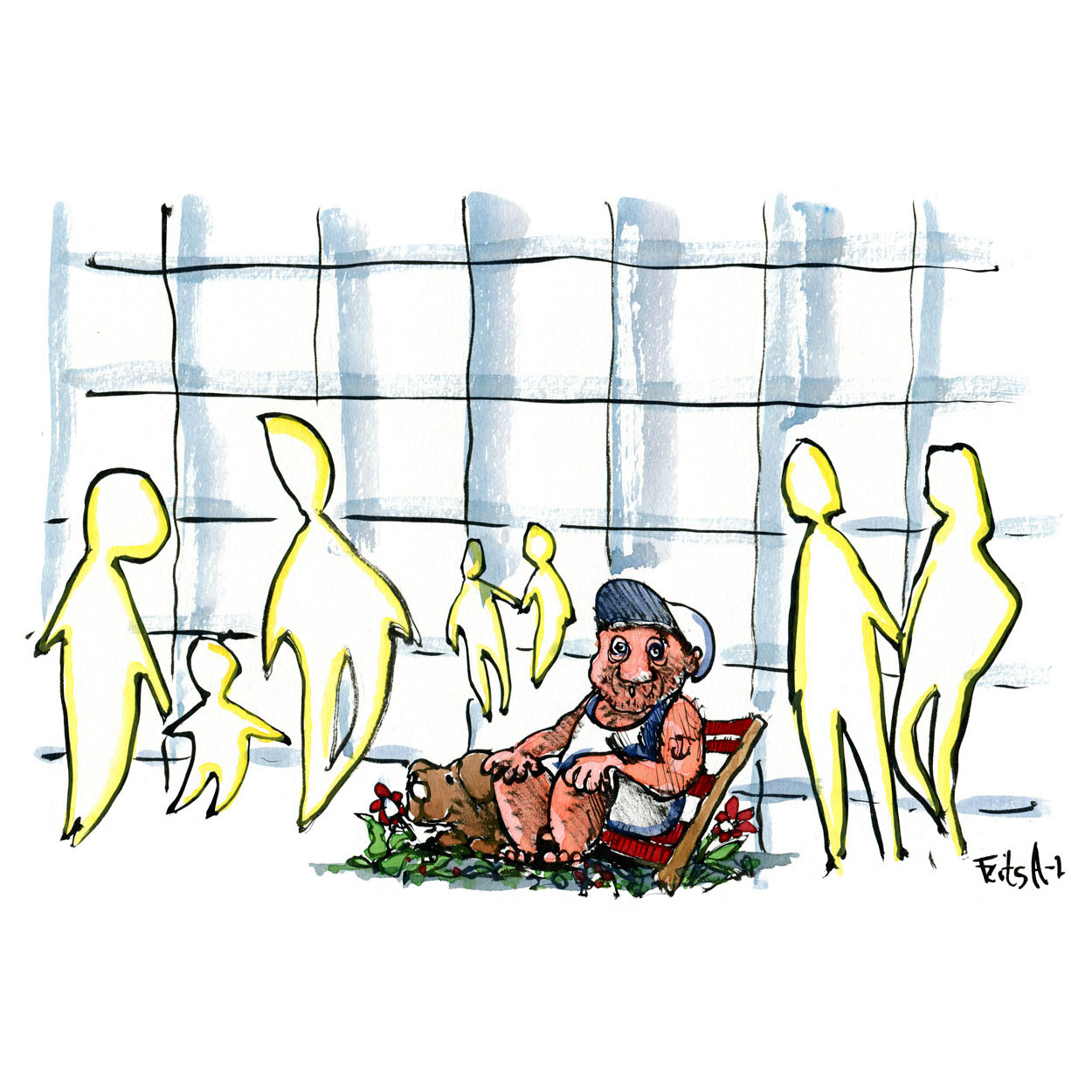 Man sitting in modern architecture with drawn figures all around him. illustration by Frits Ahlefeldt