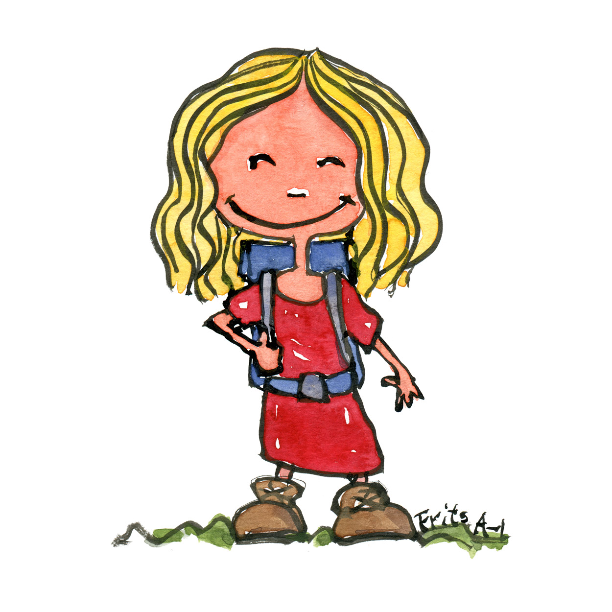 Illustration blond girl smiling with backpack and boots. Illustration by Frits Ahlefeldt