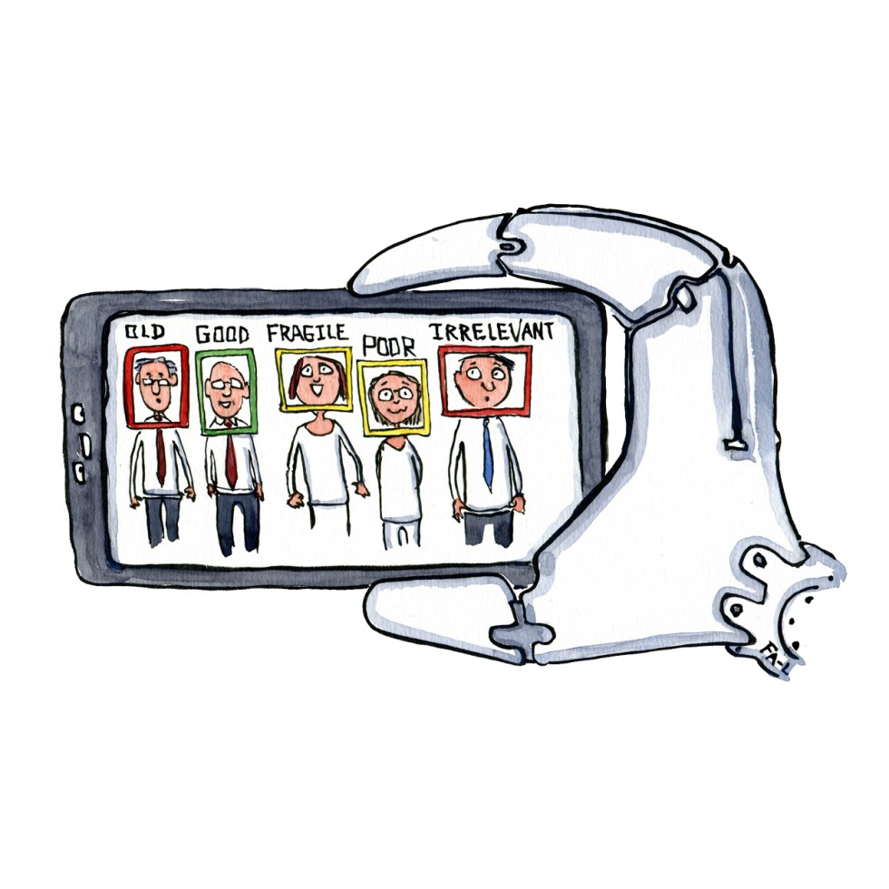 Robot hand with a smart phone taking a group picture. Evaluating the persons with face recognition, big data and AI. Illustration by Frits Ahlefeldt