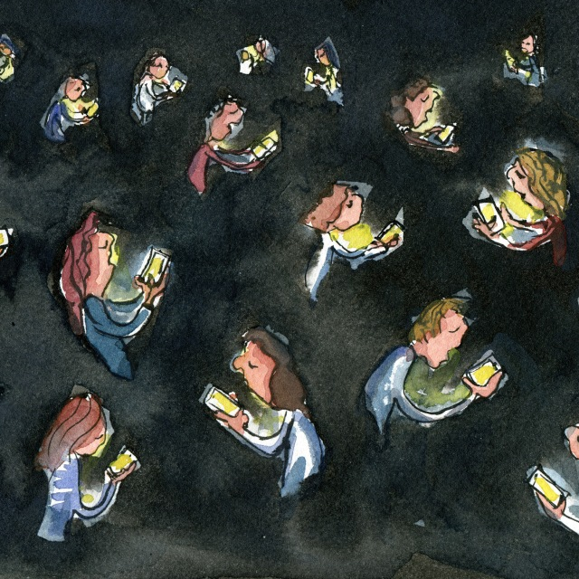 Darkness with a lot of people looking at their phones. illustration by Frits Ahlefeldt