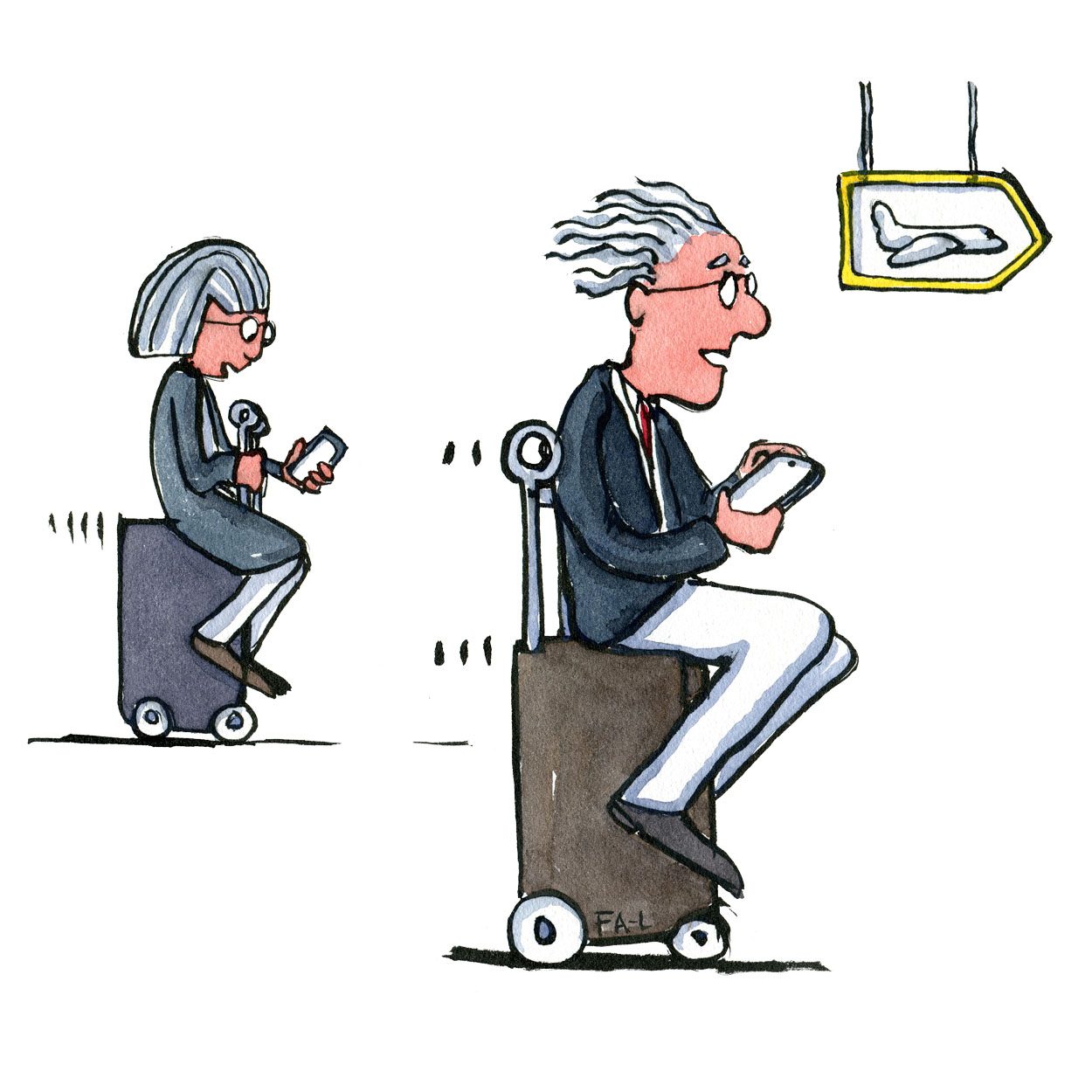 Two elderly persons with their phones on self rolling suitcases. Illustration by Frits Ahlefeldt