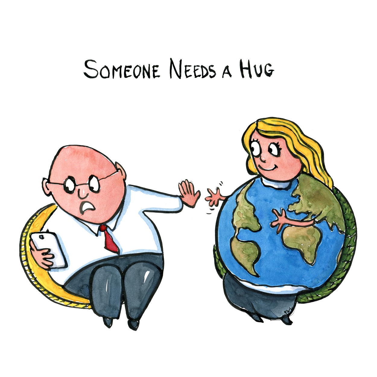 Planet Earth reaching out to hug a businessman who is looking at his phone. drawing by Frits Ahlefeldt