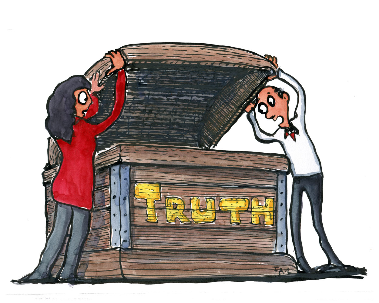illustration of man and woman opening casket with TRUTH written on it. drawing by Frits Ahlefeldt