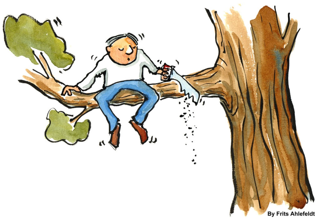 Man sitting in a tree with a saw, cutting the branch that he sits on. drawing by Frits Ahlefeldt