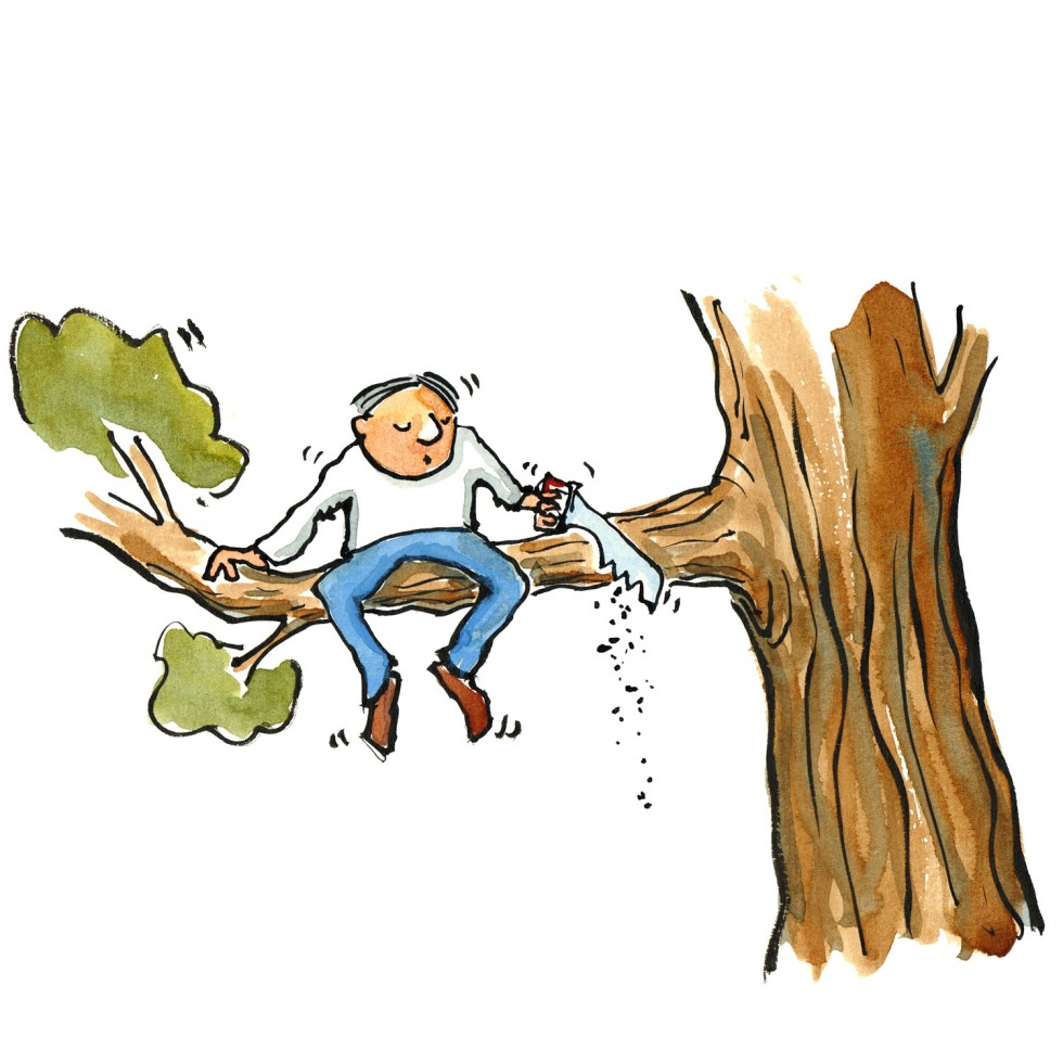 Man with a saw in a tree, sawing off the branch he is sitting on. illustration by Frits Ahlefeldt