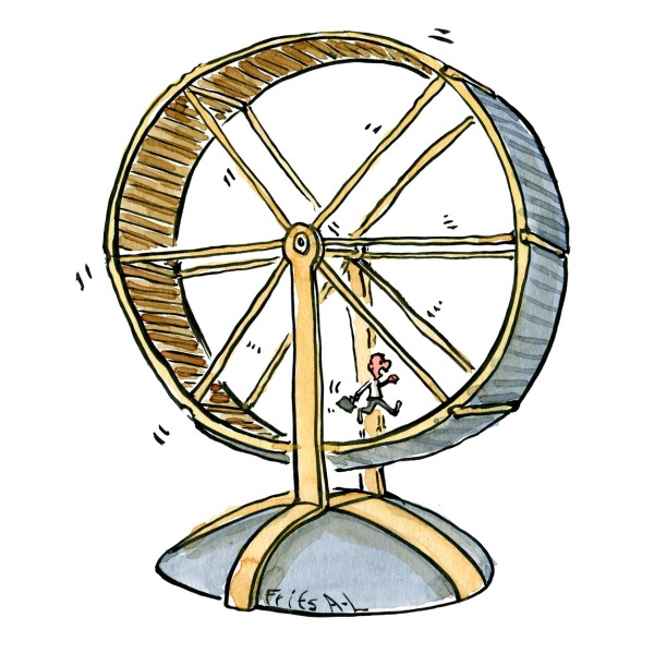 illustration of a man running in a huge hamster wheel. drawing by Frits Ahlefeldt