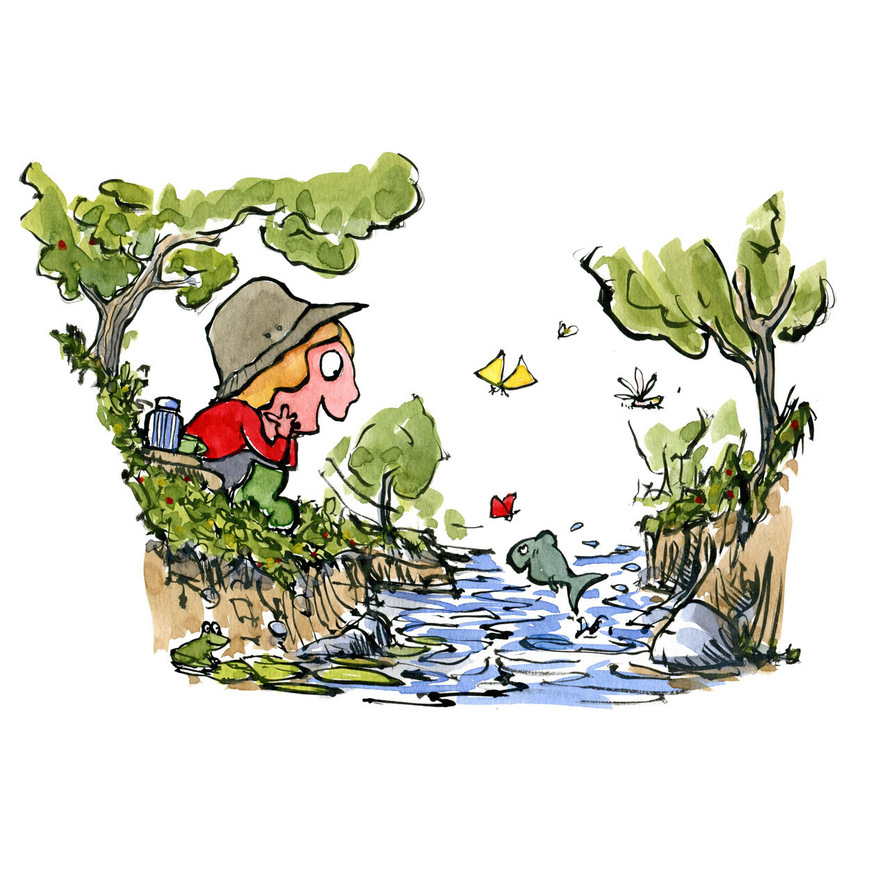illustration of little girl sitting by the water and looking happy on a fish jumping. illustration by Frits Ahlefeldt