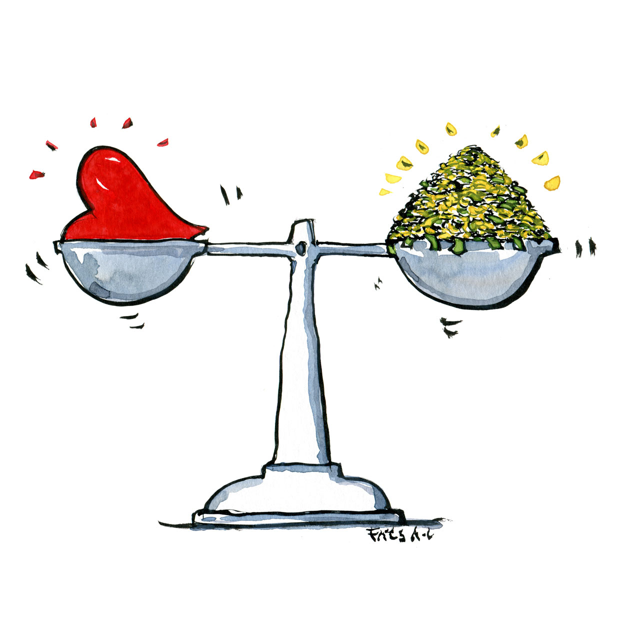 Illustration of a scale with a heart on one side and money on the other. drawing by Frits Ahlefeldt