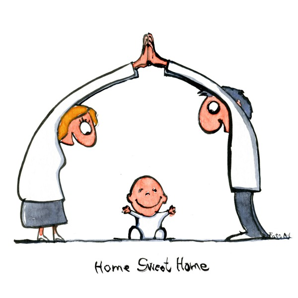 Man and woman making a home with their hands with a baby looking happy in the middle. illustration by Frits Ahlefeldt