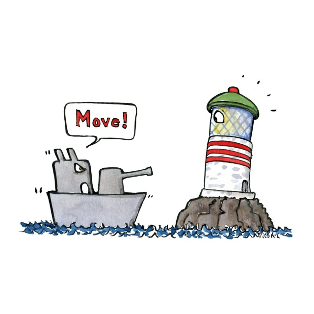 Warship telling lighthouse to move out of the way. illustration by Frits Ahlefeldt