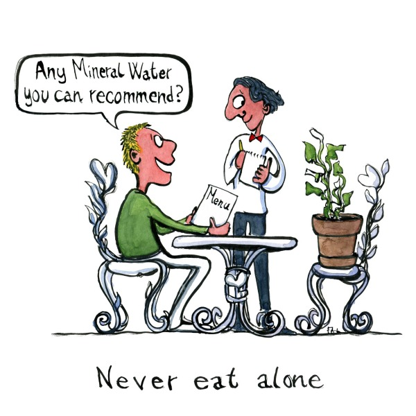 Man eating with his flower plant on restaurant. Asking the waiter if he can recommend any mineral water. Illustration by Frits Ahlefeldt