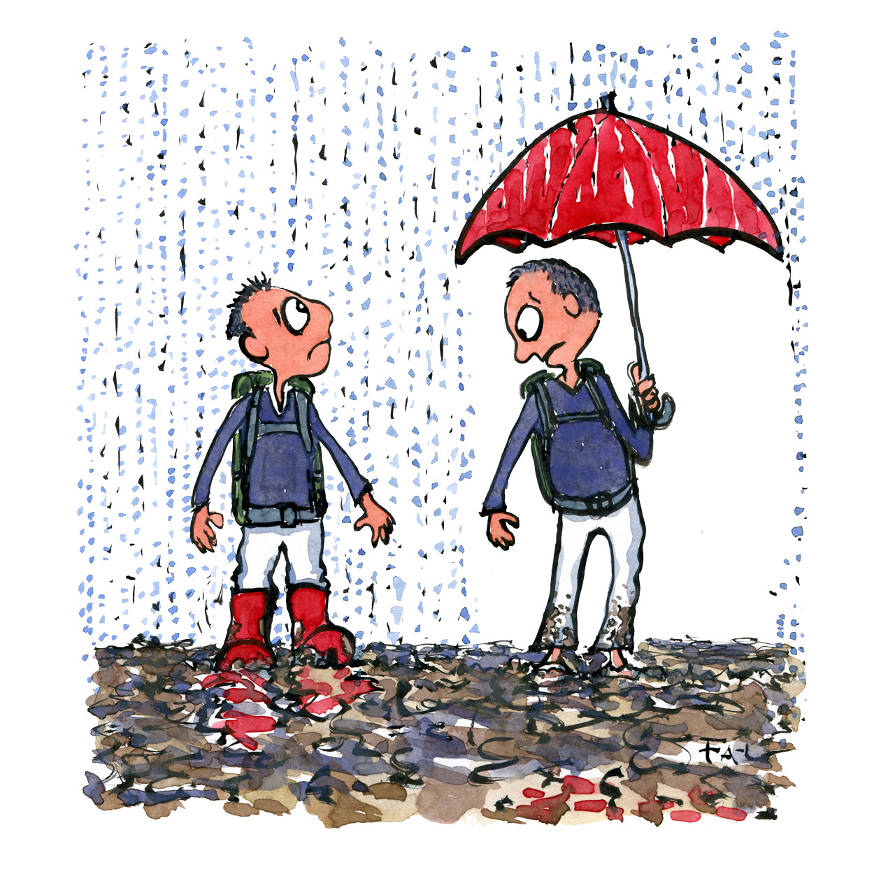 Drawing of two similar looking men in the rain. One with rain boots, the other with an umbrella. Each looking at what the other have. Illustration by Frits Ahlefeldt
