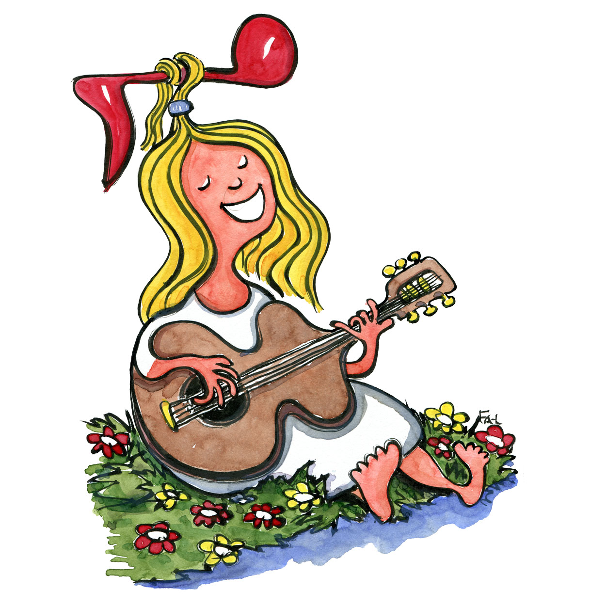 Drawing of a girl sitting by the roadside with a guitar. Singing. Note in her hair. Illustration by Frits Ahlefeldt