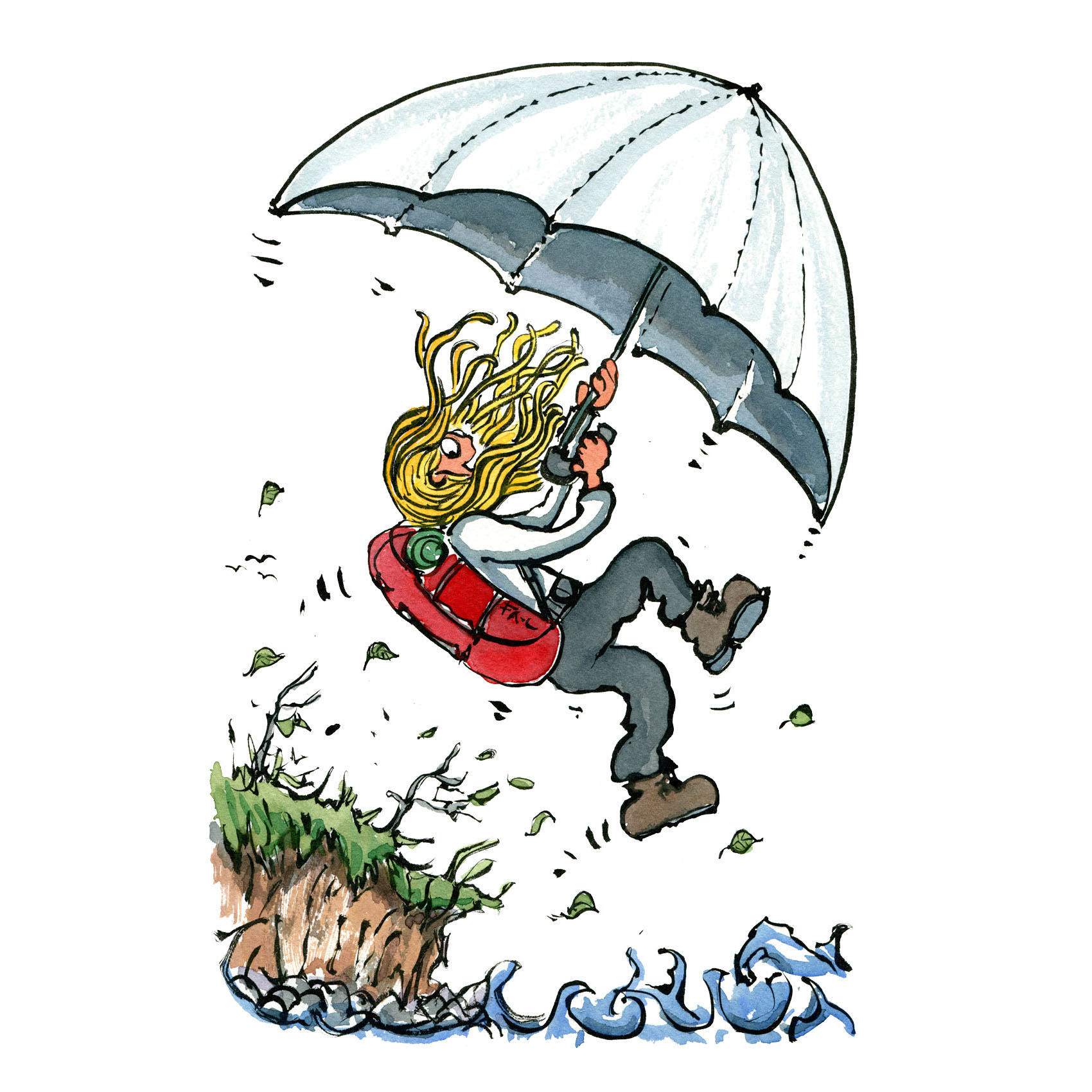 Girl with backpack, hiker with a huge umbrella over water. illustration by Frits ahlefeldt