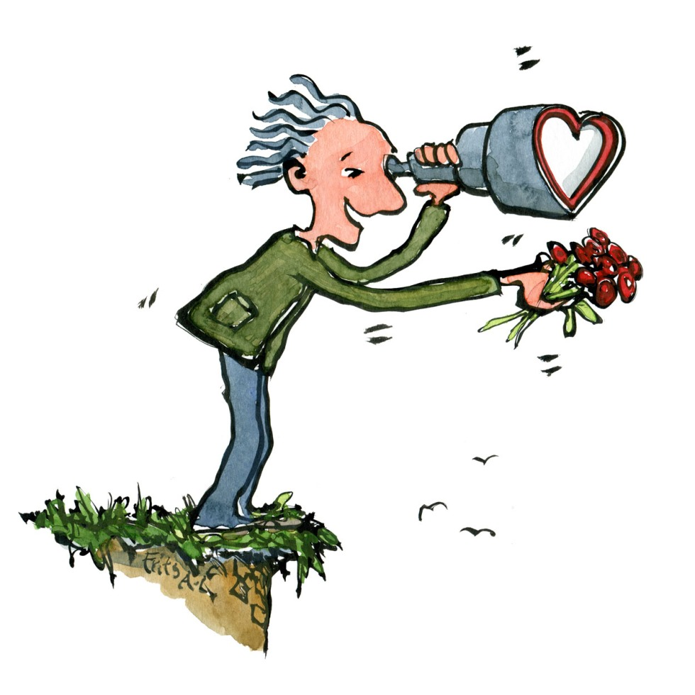 Man with heart shaped binoculars at flowers at an edge. Illustration by Frits Ahlefeldt