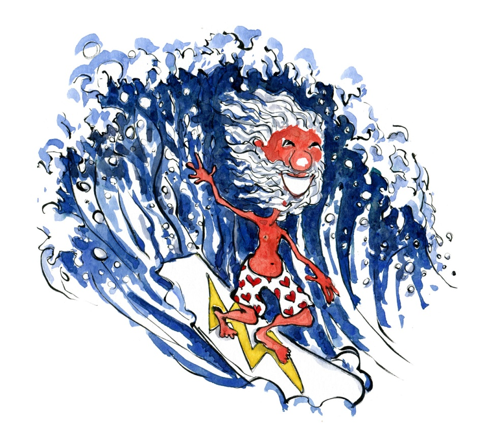 Old man with beard, in front of wave, smiling. on surfboard with lightning symbol on it. and pants with hearts on them. Illustration by Frits Ahlefeldt