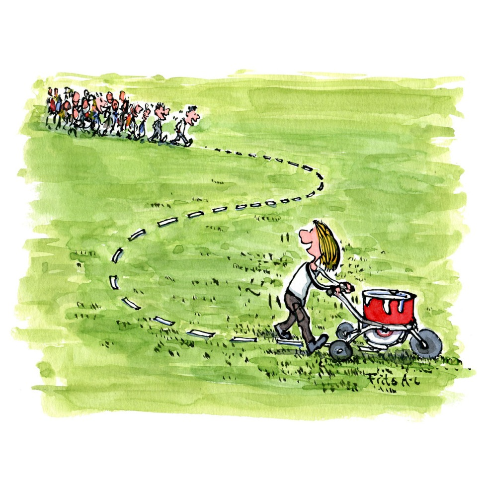Woman with a marking machine, making a line in the grass that a group of people follows. Illustration by Frits Ahlefeldt