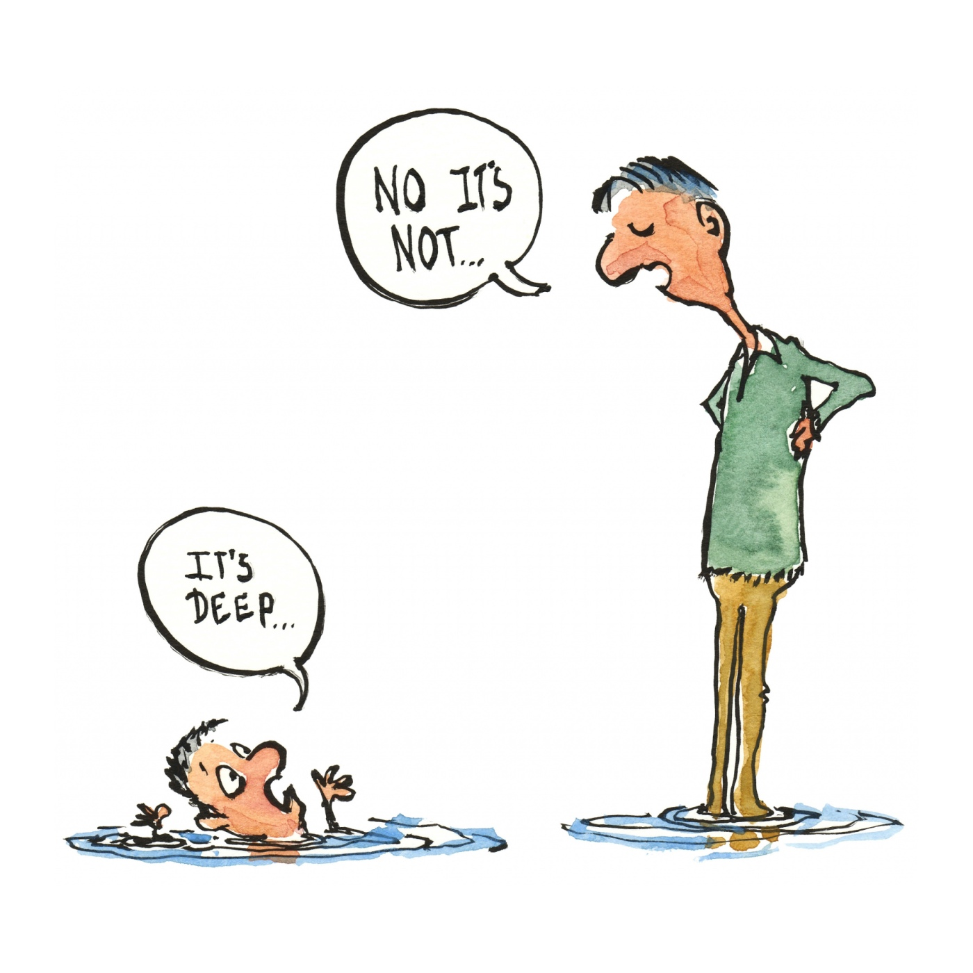 drawing of two men in water, one says it's deep, the other man says it is not. Illustration by Frits Ahlefeldt