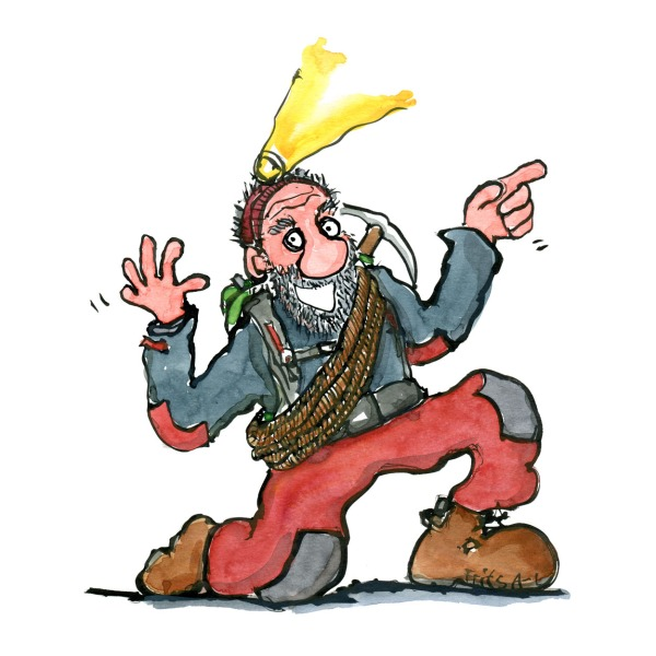 Man with hiking gear and headlamp telling a story. Illustration by Frits Ahlefeldt