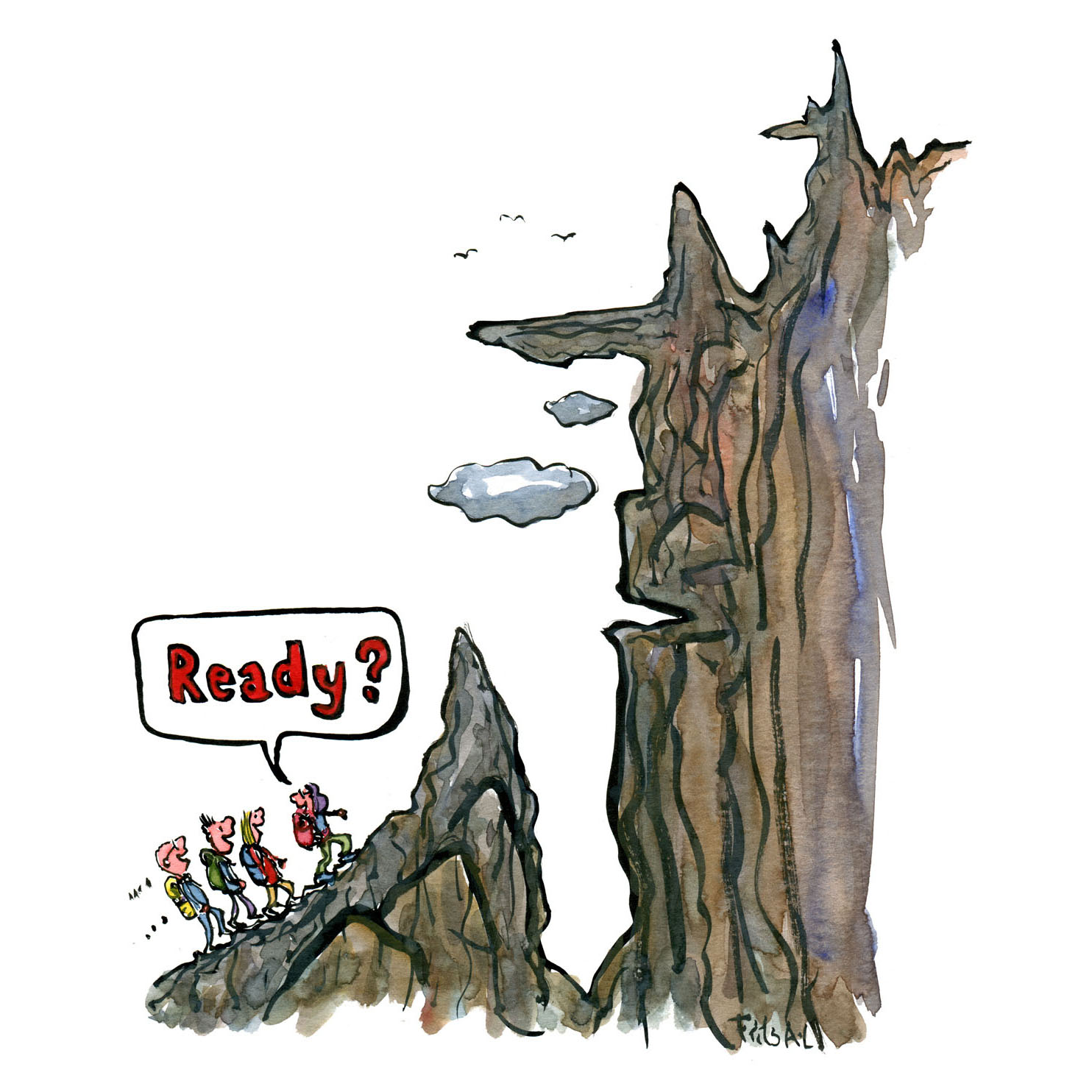 """Group of hikers in front of a difficult path. One saying """"ready"""". Illustration by Frits Ahlefeldt"""