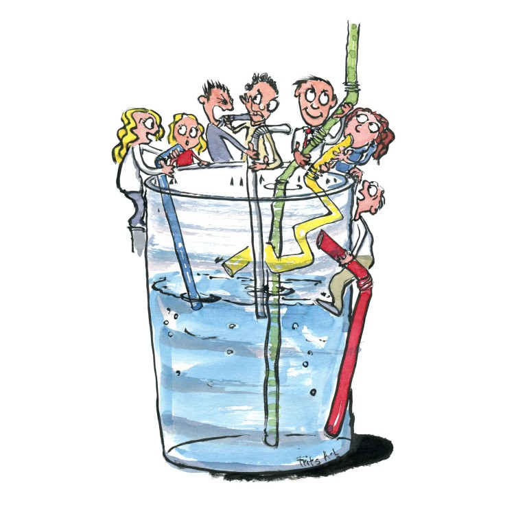 illustration of people around a glass. All using straws to get as much as they can. Drawing by Frits Ahlefeldt. Museum of pscyhology drawing