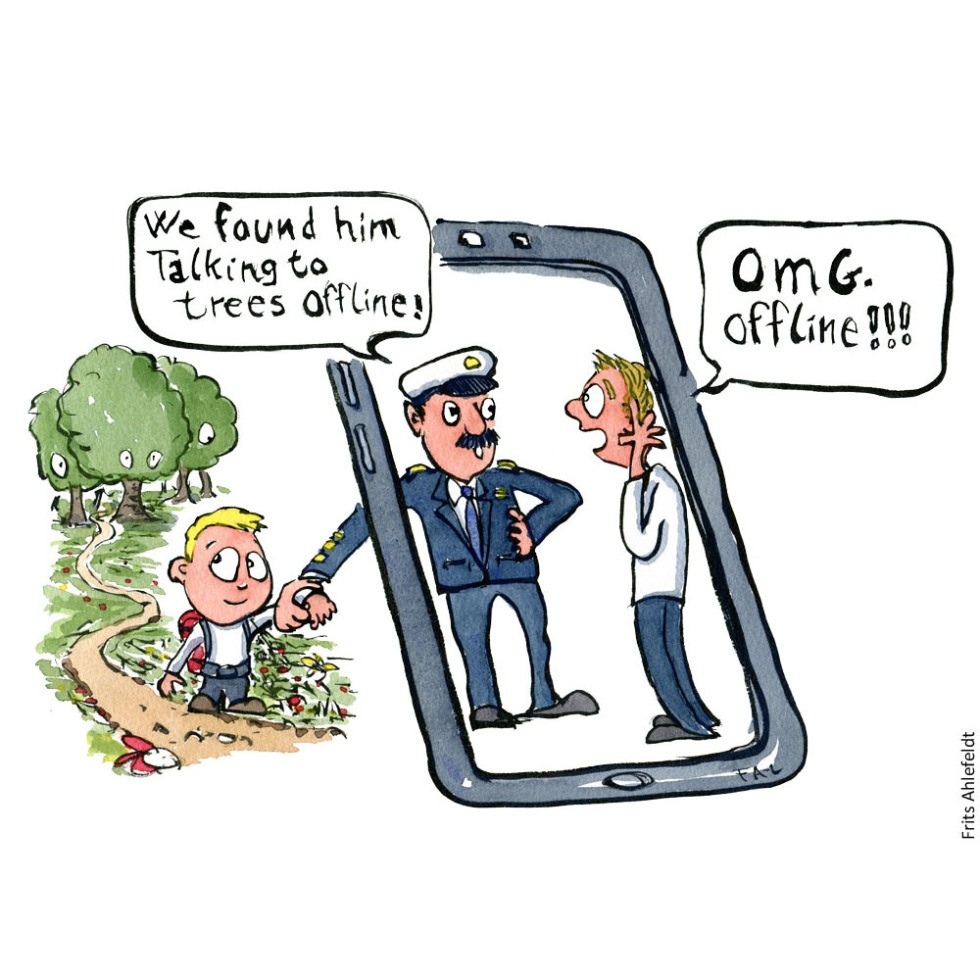 Drawing of a kid with backpack looking back out in nature as a police officer bring him back to his father on a phone screen. Illustration by Frits Ahlefeldt