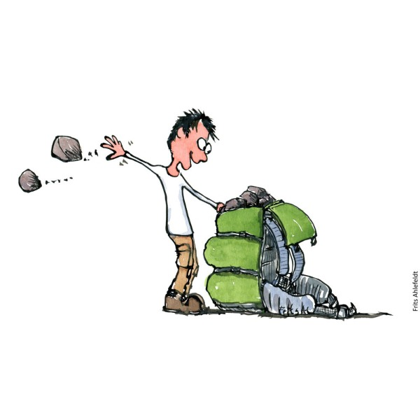 Drawing of a man emptying his backpack for heavy rocks. Illustration by Frits Ahlefeldt