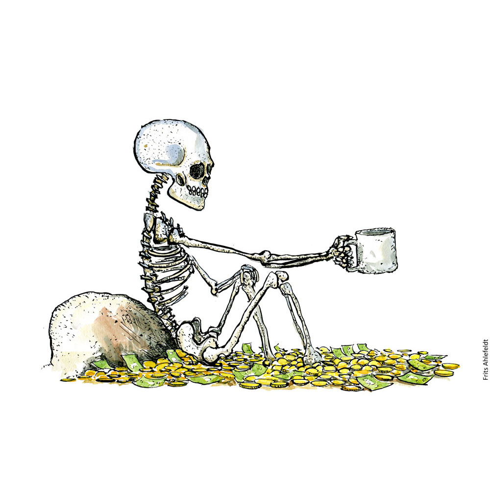 Drawing of a skeleton sitting in money. Illustration by Frits Ahlefeldt