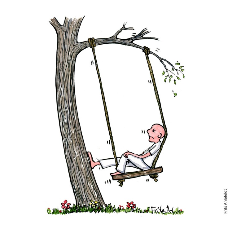 Drawing of a man in a swing too close to the tree to work. Psychology drawing by Frits Ahlefeldt
