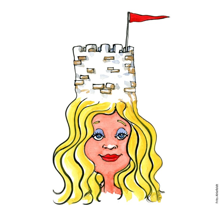 Drawing of a woman with a defense tower on her head. Psychology illustration by Frits Ahlefeldt