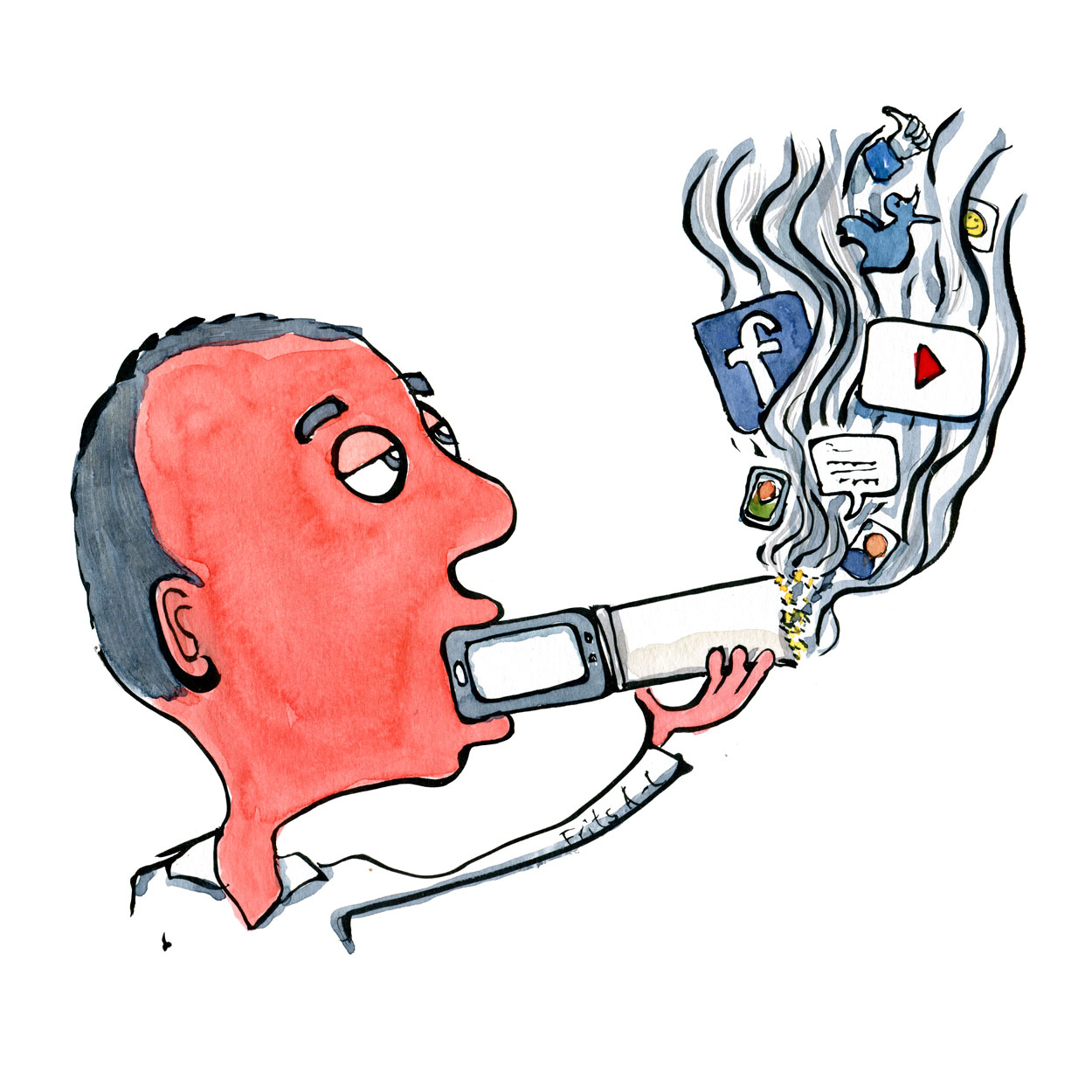 Drawing of a man smoking social media junkie. Illustration by Frits Ahlefeldt