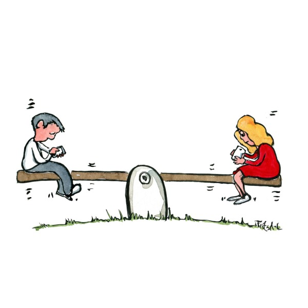 Drawing of two people on a see saw with smartphones. Illustration by Frits Ahlefeldt