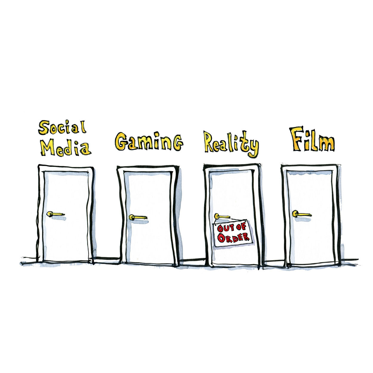 Drawing of four doors. Social media, gaming, reality and film with reality out of order. Illustration by Frits Ahlefeldt