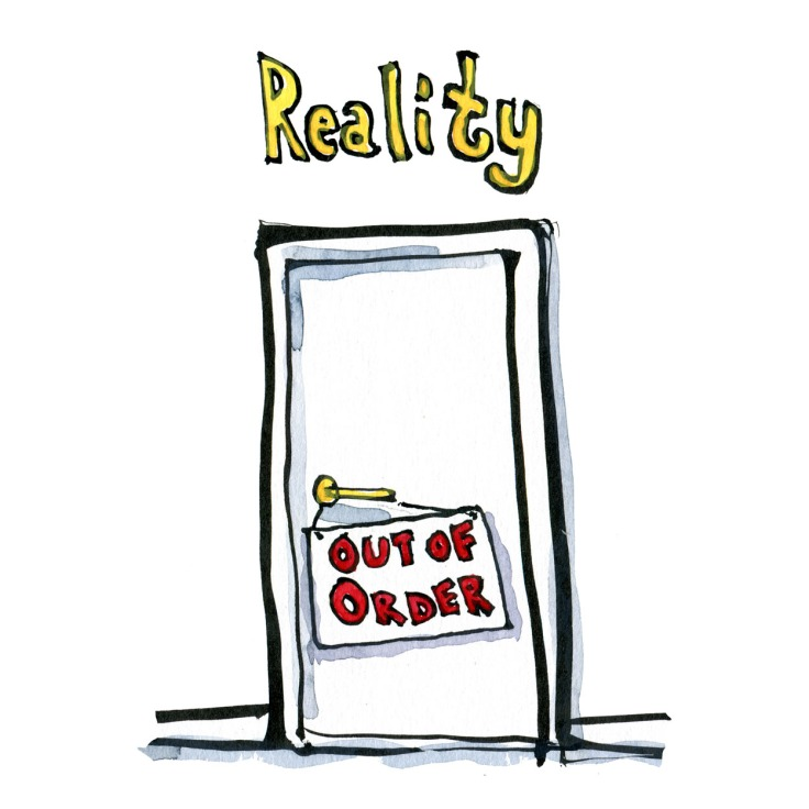 Drawing of the door of reality out of order. Illustration by Frits Ahlefeldt