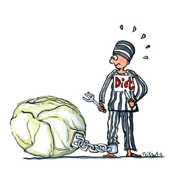 Drawing of a prisoner at a diet, chained to a salad head. Illustration by Frits Ahlefeldt