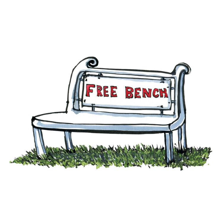 "Drawing of a bench with the text ""free"" on it. Illustration by Frits Ahlefeldt"