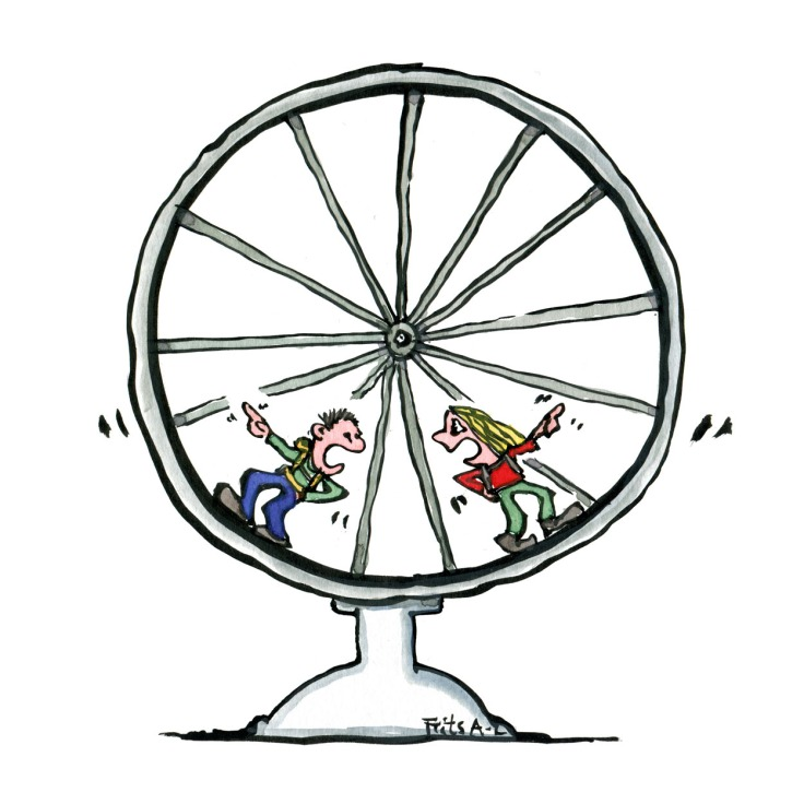 Drawing of two people in a mouse wheel discussing what is the right way. Illustration by Frits Ahlefeldt