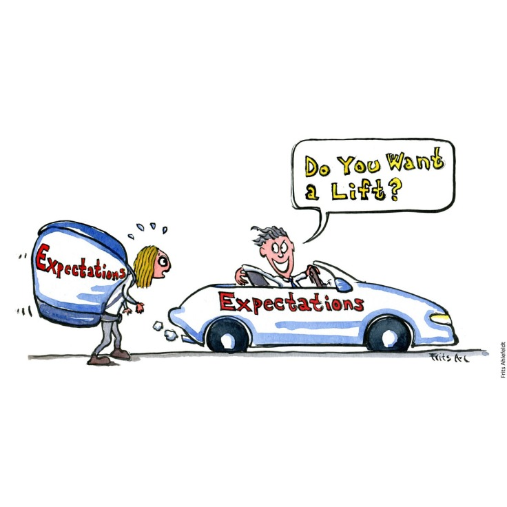"Drawing of a girl with a backpack with the text ""expectations"" on it and a guy in an open sports car, with expectations written on the side - asking ""Do you want a lift"" Psychology illustration by Frits Ahlefeldt"