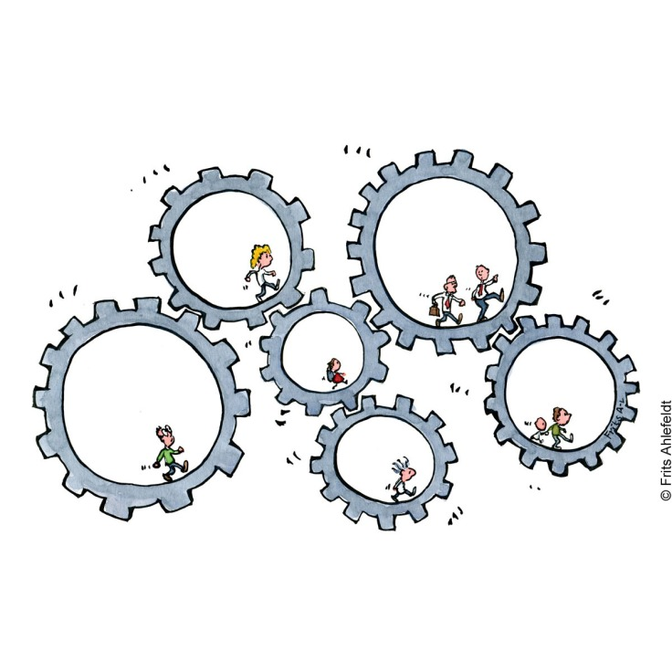 Drawing of people inside clock wheels. All walking and influencing the wheels around them. Illustration by Frits Ahlefeldt