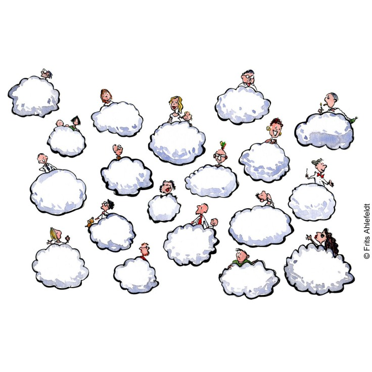 Group of people each one on a cloud. Psychology illustration by Frits Ahlefeldt
